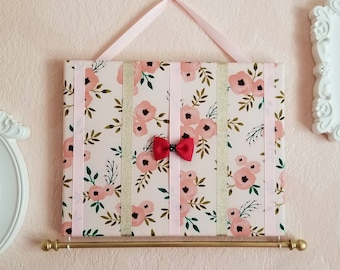 Pink and Gold Hair Bow Holder & Headband Organizer/Padded Hair Bow Organizer with Hooks for Headbands/Head Band organizer/Hair Bow Organizer