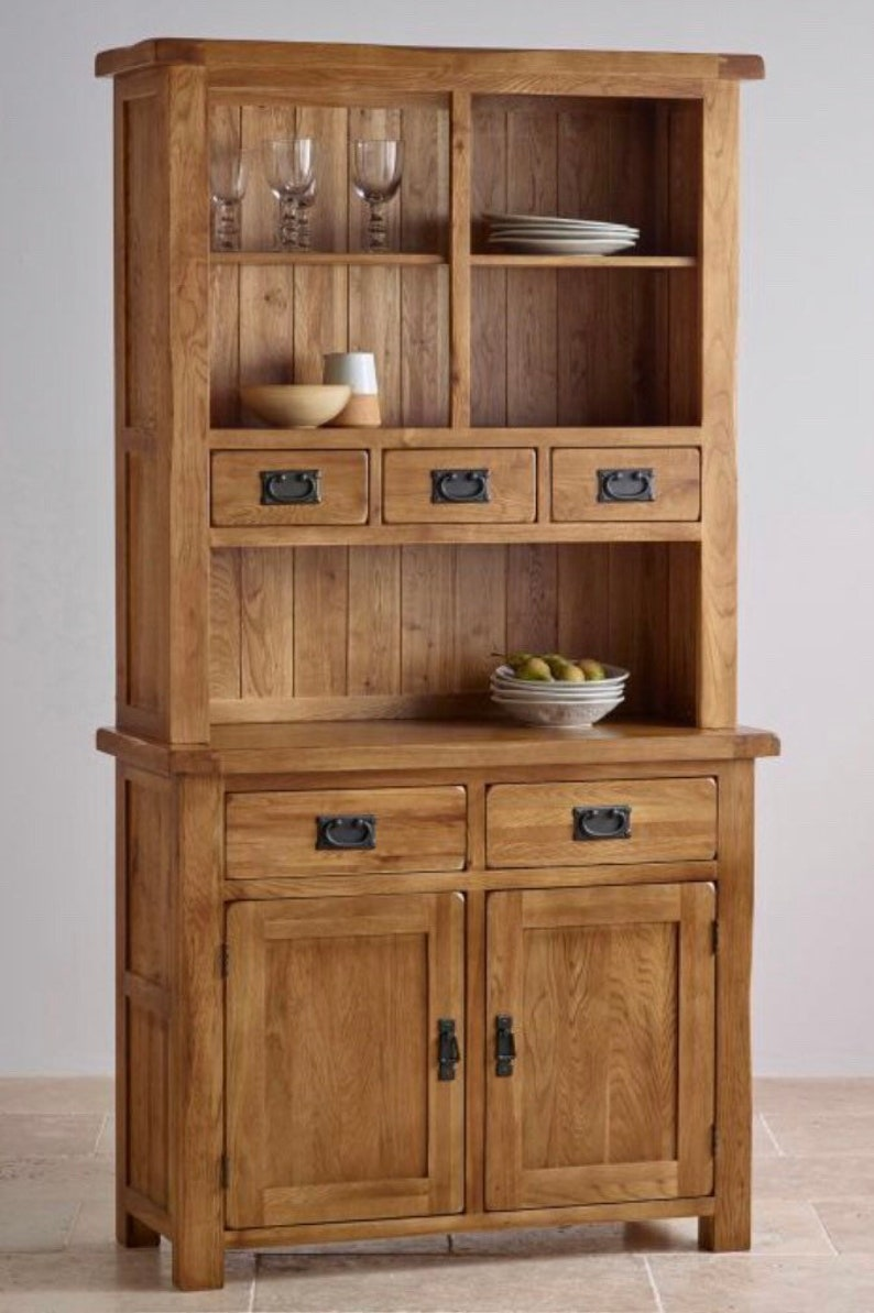 4bb6caebbad2 Solid oak wooden Welsh dresser top and bottom complete unit