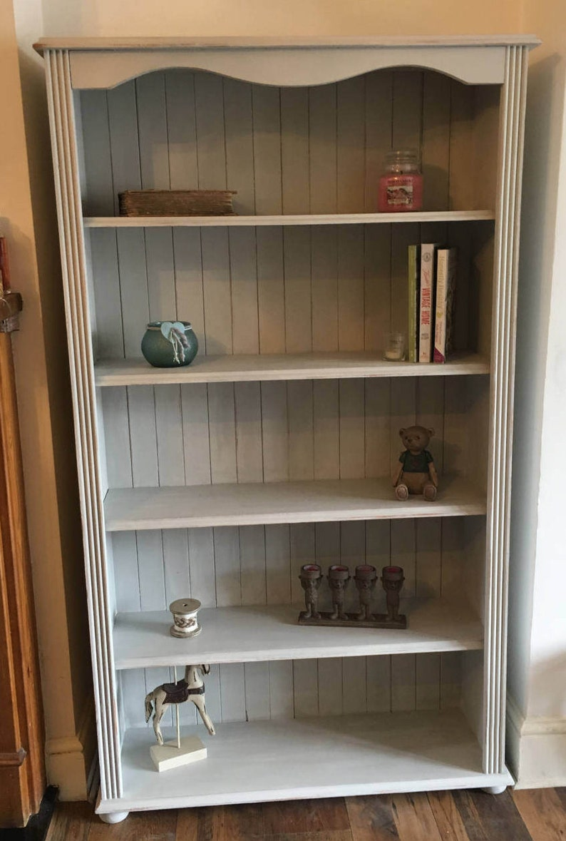 Sold Please Contact For Custom Orders Shabby Chic Distressed Solid Wood Bookcase Winter Grey Large Tall