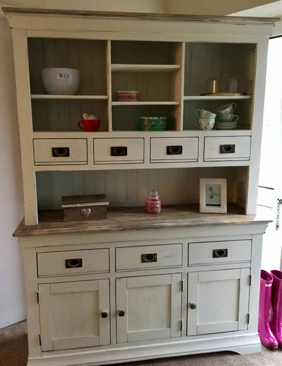 SOLD Shabby chic solid hard wood welsh dresser, top and bottom, complete unit. Hand painted in antique white, clotted cream. Can be custom