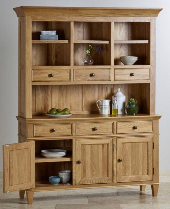 6c2fc9bf7ed1 Large triple hardwood oak wooden Welsh dresser top and