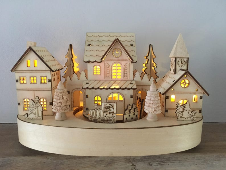 Traditional Wooden Christmas Scene With Moving Train And Led Lights Battery Operated Ornament Village Scene Decoration