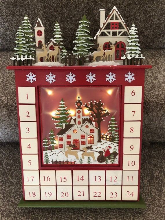 Christmas Advent House.Led Christmas Wooden Advent House Adult And Children Alike Countdown To Christmas December 1st Reindeer Snowy Woodland