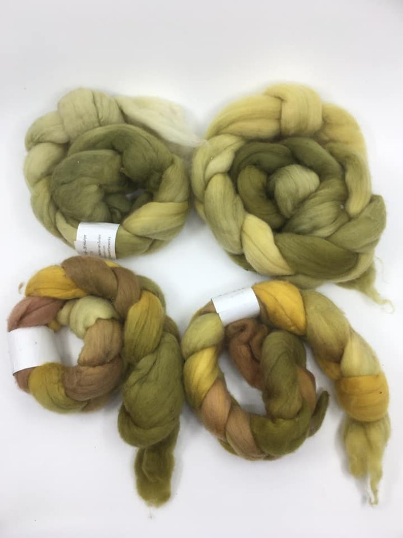 4 braids of 50g 200gram 1.75oz 7oz Only 1 lot available at this great price!! Hand-dyed Superfine Merino Tops 18.5 micron
