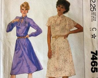 1980s dress McCalls 7465 Uncut vintage sewing pattern B 32.5 W25 H 35 Retro 80s secretary style day dress with blouson bodice flared skirt