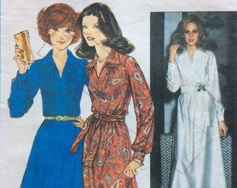 1970s shirt front day dress and maxi Simplicity 8249 vintage sewing pattern Bust 34 Waist 26.5 Hip 36 Retro 70s Preppy secretary style