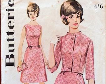 1960s slim fit dress and boxy jacket Butterick 2888 Uncut vintage pattern Bust 31.5 Waist 24.5 Hip 33.5 retro 60s Mad Men preppy style