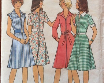 1970s secretary style day dress Style 1444 vintage sewing pattern Bust 33.5 Waist 26 Hip 36.5 Retro 70s preppy dress, 4 different variations