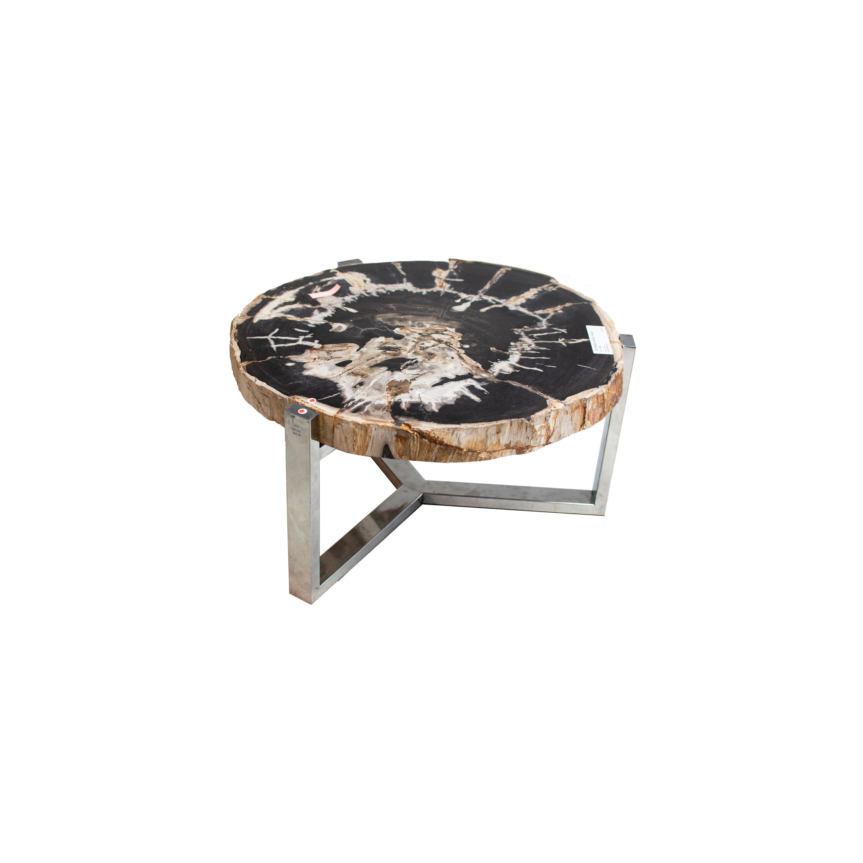 - Black And Gray Petrified Wood Coffee End Table Fossil Wood Etsy