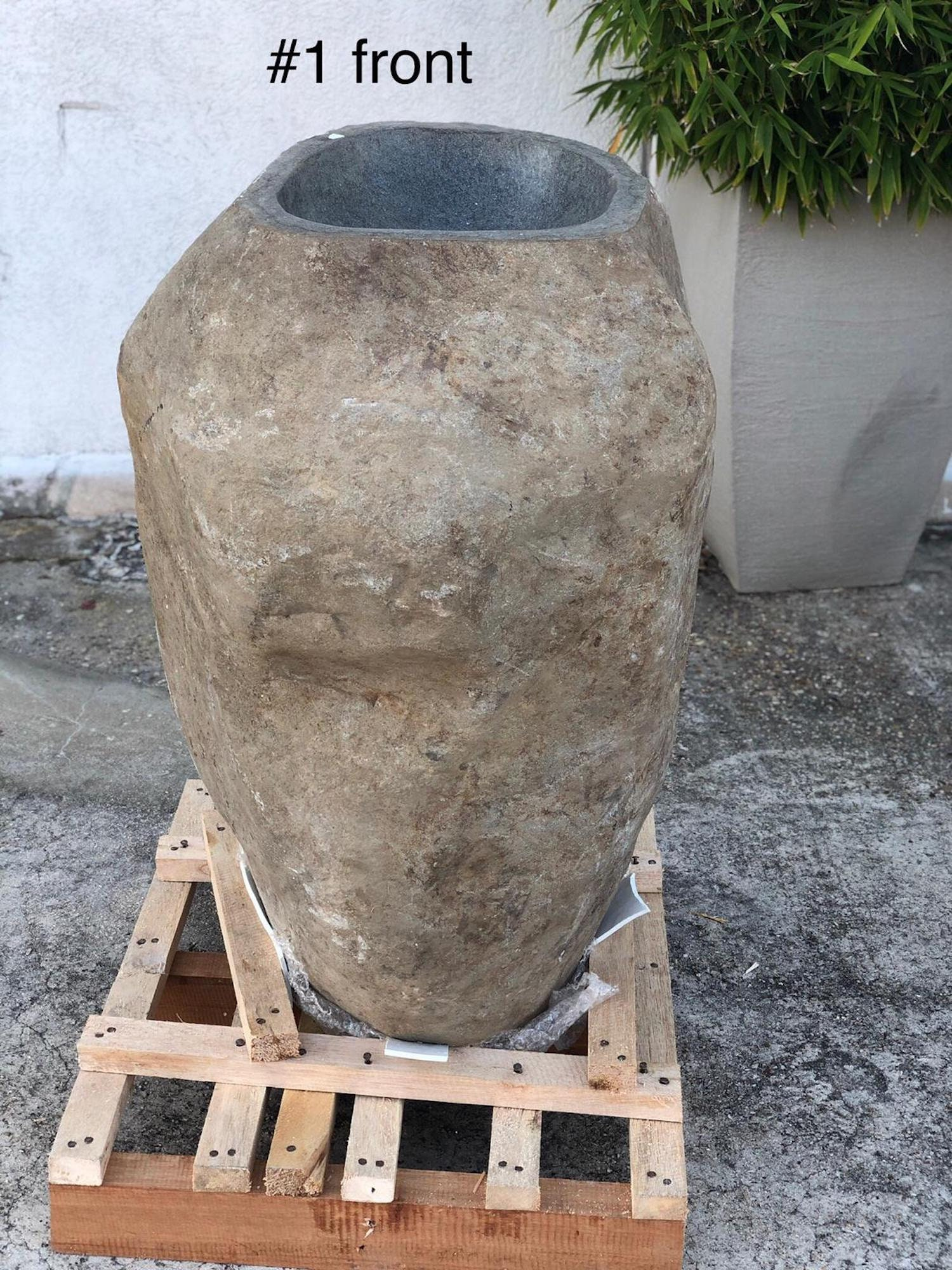 Solid Pedestal Stone sink 1, used for sale