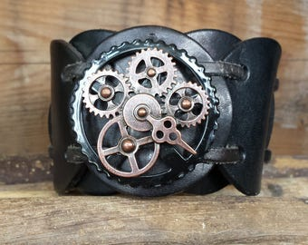 Steampunk Re-Inspired Black Leather Cuff
