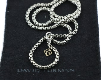 Pew-owned david yurman 3.6mm sterling silver 925 and 14k gold box chain 20 inch