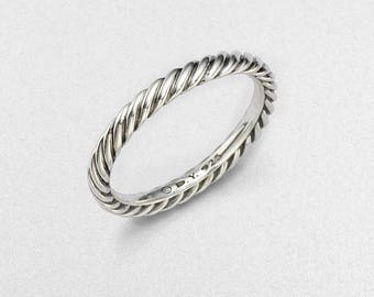 Pry-owned david yurman sterling silver cable band ring size 8