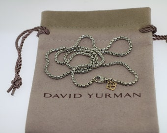 Pre-owned David yurman sterling silver 14k 2.7mm box chain necklace 20''