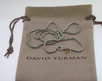 Pre-owned David yurman sterling silver 14k 2.7mm box chain necklace 24''