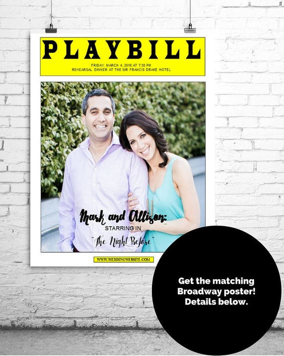 Menu Card PLAYBILL Broadway DIY TEMPLATE 5 x 7 inch Wedding