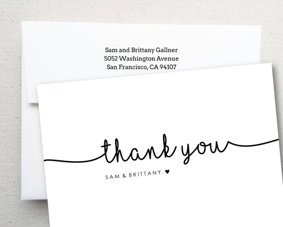 Personalized Wedding Engagement Thank You Note Card Thank You With Couples Names Envelope With Return Address Free Shipping