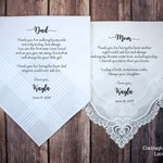 Mother of the Bride Gift & Father of the Bride Gift from the Bride, Mother of Bride Gift, wedding handkerchief from daughter - POB