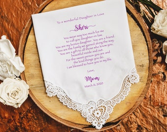 Daughter-In-Law Gift handkerchief, Wedding Gift, Gifts From Mother-In Law, Gift for Bride hankerchief - DGIL