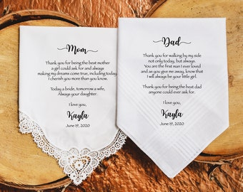 Mother of the Bride Gift & Father of the Bride Gift from the Bride, Mother of Bride Gift, wedding handkerchief from daughter - POB-POG