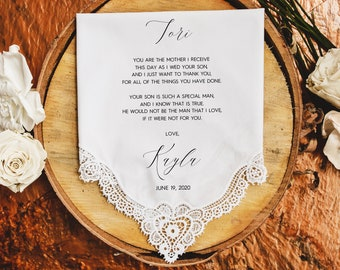 Mother of the Groom handkerchief from the Bride, wedding handkerchief from daughter in law, print,Mother of the groom gift from bride -MOG2N