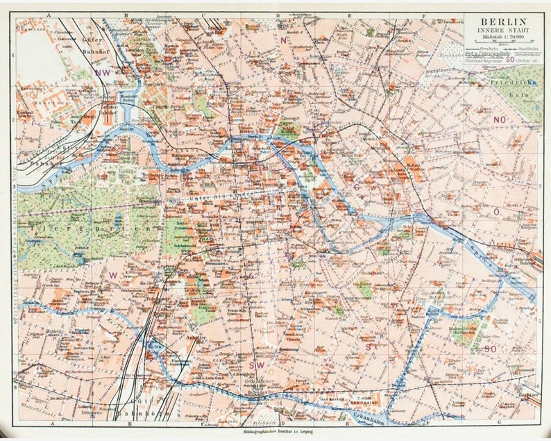1925 Map of Berlin Map of Germany - Original Vintage Map - Joseph Meyer -  12x10 - Berlin - Lithograph Map