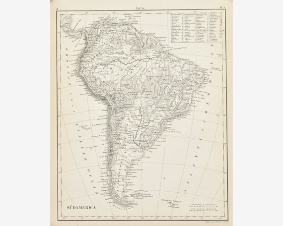 1857 Map of South America - Original Antique Map - JG Heck - 9x12 - Uncolored Picture Map Of Usa on blank map of usa, real map of usa, natural map of usa, detailed map of usa, clean map of usa, unlabeled map of usa, transparent map of usa, yellow map of usa,