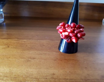 Red Coral Chip Ring
