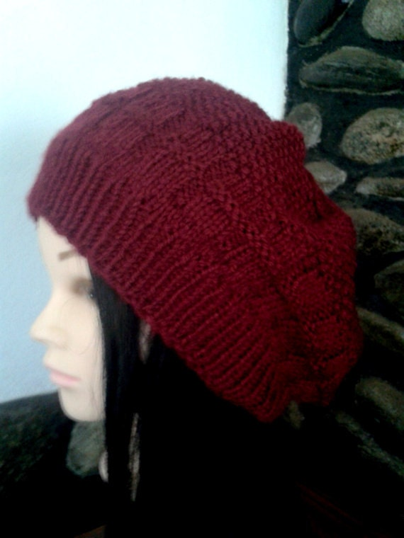 Knit beret with pom pom Baggy hat extra large beanie Slouchy beret for women Red beret handmade