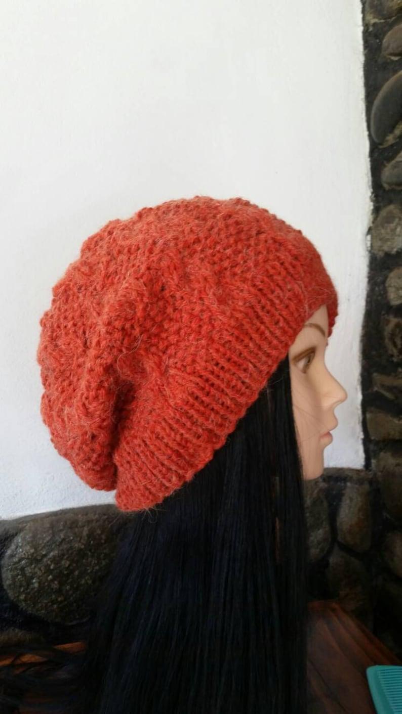 e52c4d18d298b Women Orange Cable Knit hat-Winter Cable knit HatOversized