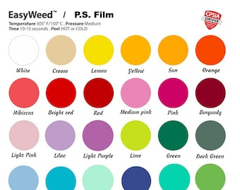 "10"" or 12"" Siser Easyweed HTV Sheets, 59 vivid colors, tshirt vinyl, iron on vinyl, Cricut Vinyl, Cameo Vinyl, Heat Transfer Vinyl Sheets"