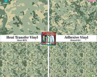 Green Camo Vinyl, HTV or Adhesive Vinyl - 12x12 Sheet, Printed Vinyl, Green Camouflage Pattern Vinyl and HTV, Military Camo, Green Army Camo