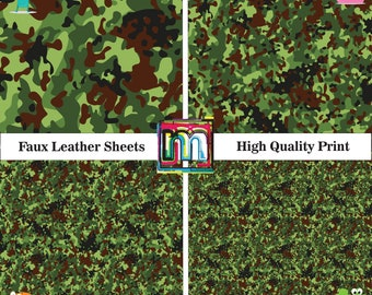 """Green Camo faux leather sheets, Soft camouflage patterned faux leather 12"""" x 12"""", Synthetic leather, Vinyl fabric, Army Camo, Military Camo"""