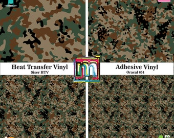 Brown Camo Vinyl, HTV or Adhesive Vinyl - 12x12 Sheet, Printed Vinyl, Brown Camouflage Pattern Vinyl and HTV, Military Camo, Brown Army Camo