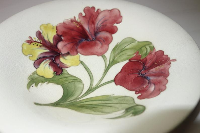 Moorcroft 25cm bowl 1950's Hibiscus pattern on cream ground