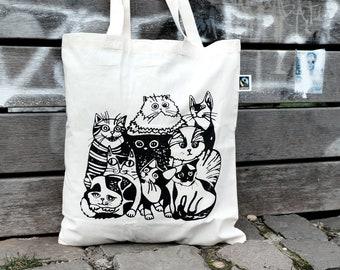 Gobelin Einkaufstasche Stoffbeutel Tragetasche Shopper Tasche Beutel Katzen