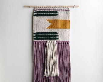 handmade woven wall hanging // banner