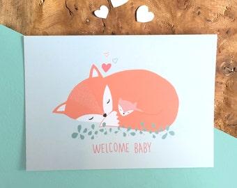 Card WELCOME BABY fox