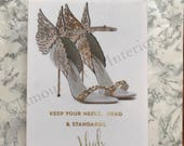Fashion shoe picture Keep your heels, Head and Standards High sparkly Fashion illustration fashion quote Diamond Dust, Canvas Print, chanel