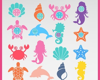 Mermaid SVG, sea star svg, starfish svg, sea shells svg, crab svg, sea turtle Svg, dolphin svg, sea horse svg,  DXF, PNG Formats 0028