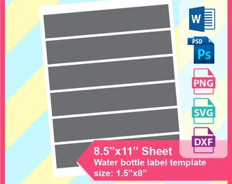 Mini Water Bottle Etsy - Mini water bottle label template