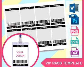 vip pass template etsy