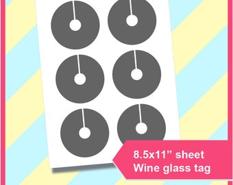 graphic relating to Printable Wine Glass Tags identify Wine gl tag Etsy