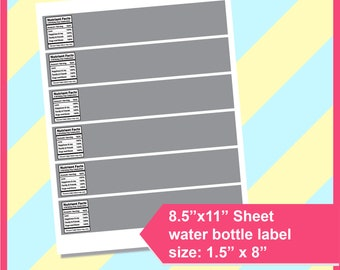 Water Bottle Labels Template Etsy