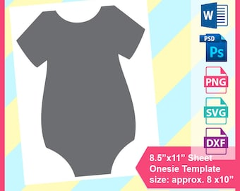 Instant Download Onesie Template Cake Topper Microsoft Word Doc PSD PNG And SVG Dxf Formats 85x11 Sheet Printable 317