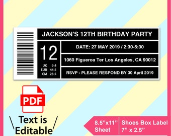 Shoe Box Label Template Create Your Own Invitations Or Favor