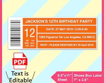 Editable Shoes Box Label Template Invitation Template Pdf Etsy