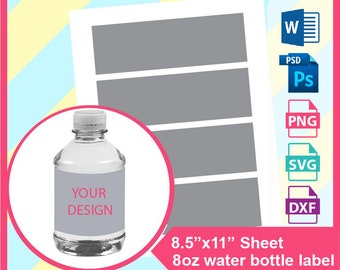 d421a9049e 8oz water bottle Template, Microsoft word doc, PSD, PNG and SVG, Dxf,  Formats, 8.5x11