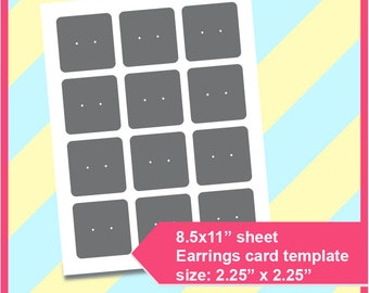Earring Tag Template Card Hole Punch Instant Download PSD PNG And SVG Formats 85x11 Printable Cutting File 244