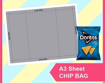 Chip Bag Template, PSD, PNG, SVG, Dxf, Microsoft Word Doc Formats, A3 sheet, Printable 258